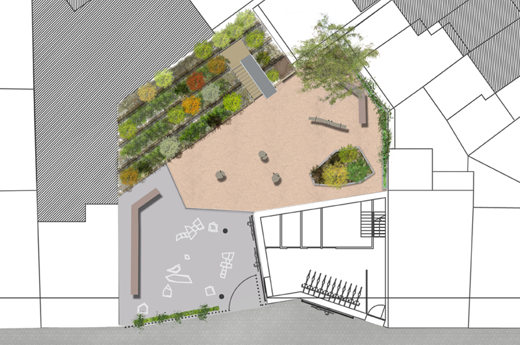 Bloc paysage square mexico for Plan masse jardin